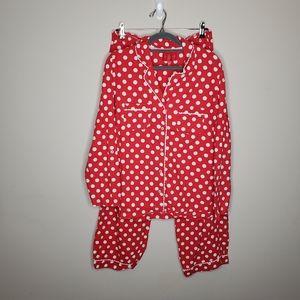 Victoria's Secret Flannel Pajama Set Red White